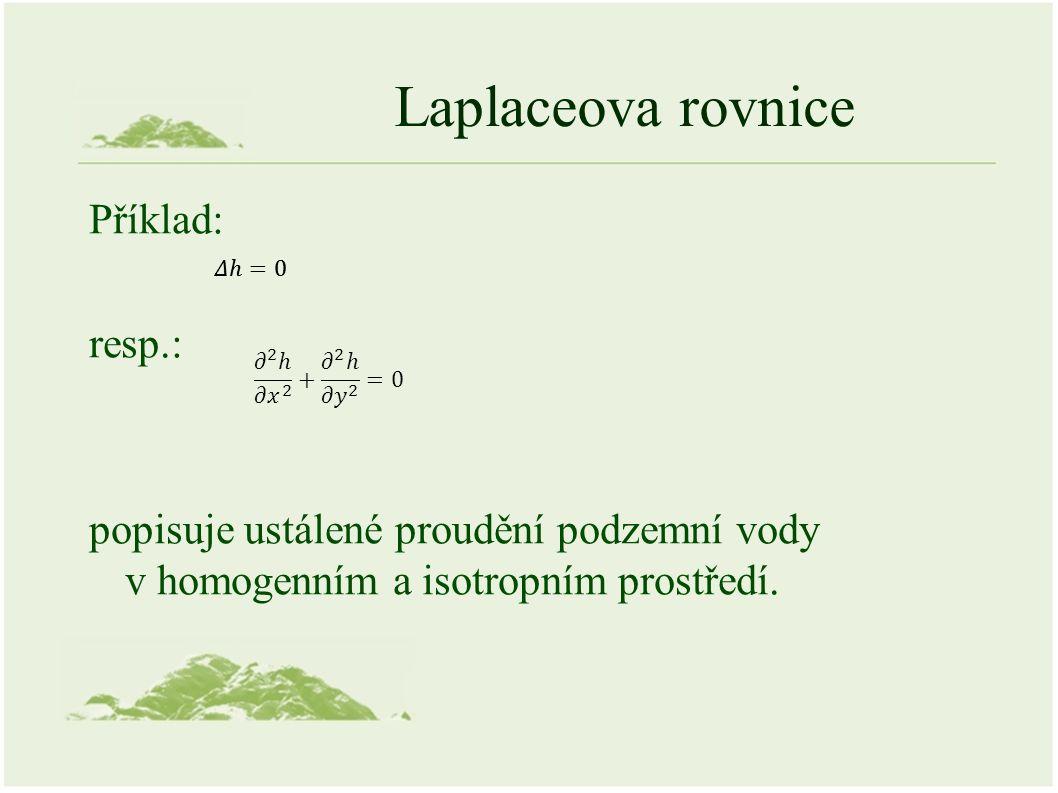 Laplaceova rovnice Příklad: resp.: popisuje ustálené proudění podzemní vody v homogenním a isotropním prostředí.