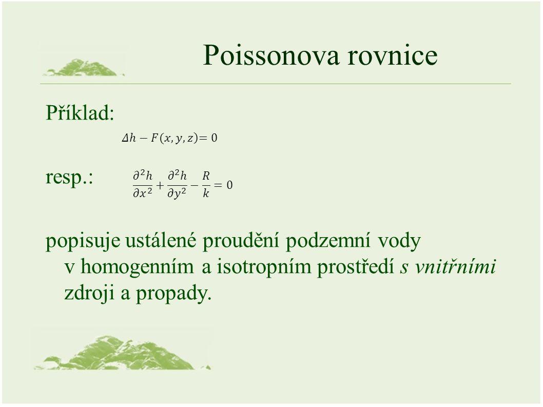 Poissonova rovnice Příklad: resp.: popisuje ustálené proudění podzemní vody v homogenním a isotropním prostředí s vnitřními zdroji a propady.