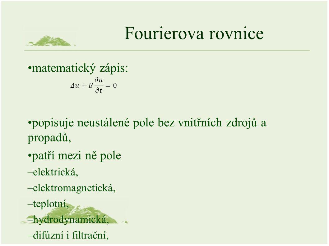 Fourierova rovnice matematický zápis: popisuje neustálené pole bez vnitřních zdrojů a propadů, patří mezi ně pole –elektrická, –elektromagnetická, –teplotní, –hydrodynamická, –difúzní i filtrační,