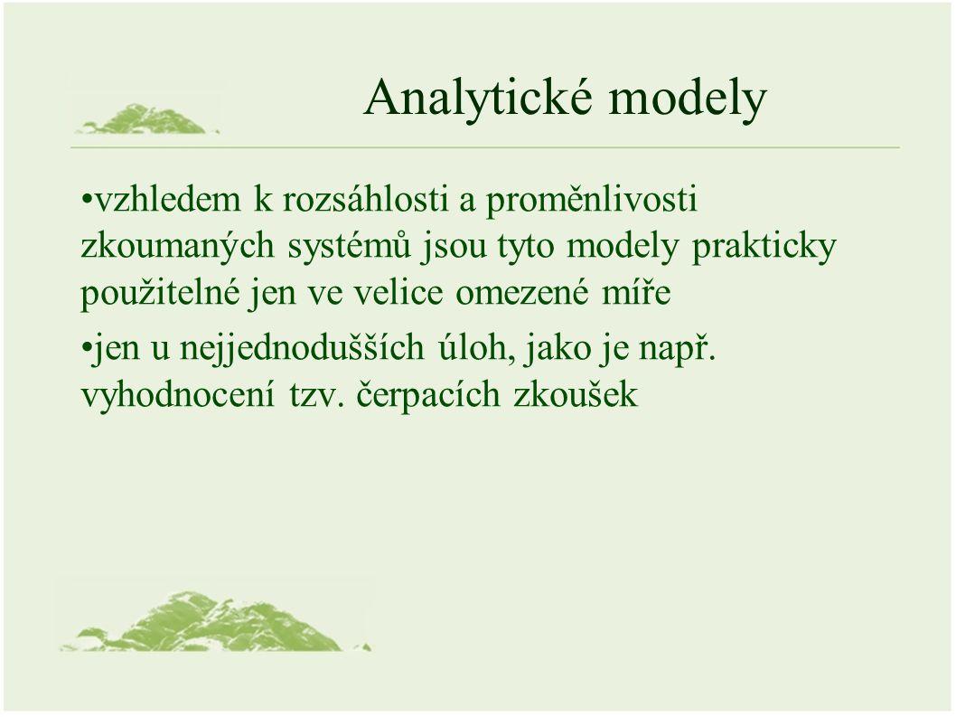 Analytické modely vzhledem k rozsáhlosti a proměnlivosti zkoumaných systémů jsou tyto modely prakticky použitelné jen ve velice omezené míře jen u nejjednodušších úloh, jako je např.