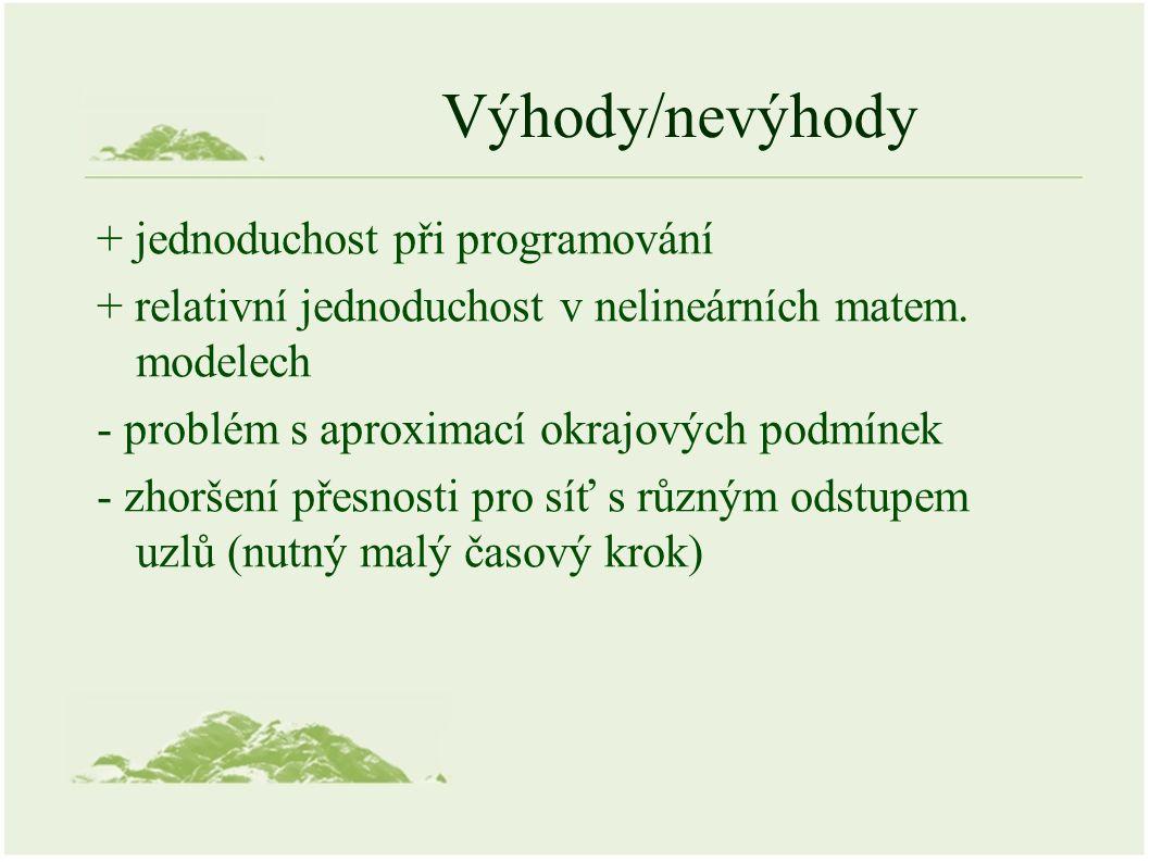 Výhody/nevýhody + jednoduchost při programování + relativní jednoduchost v nelineárních matem.