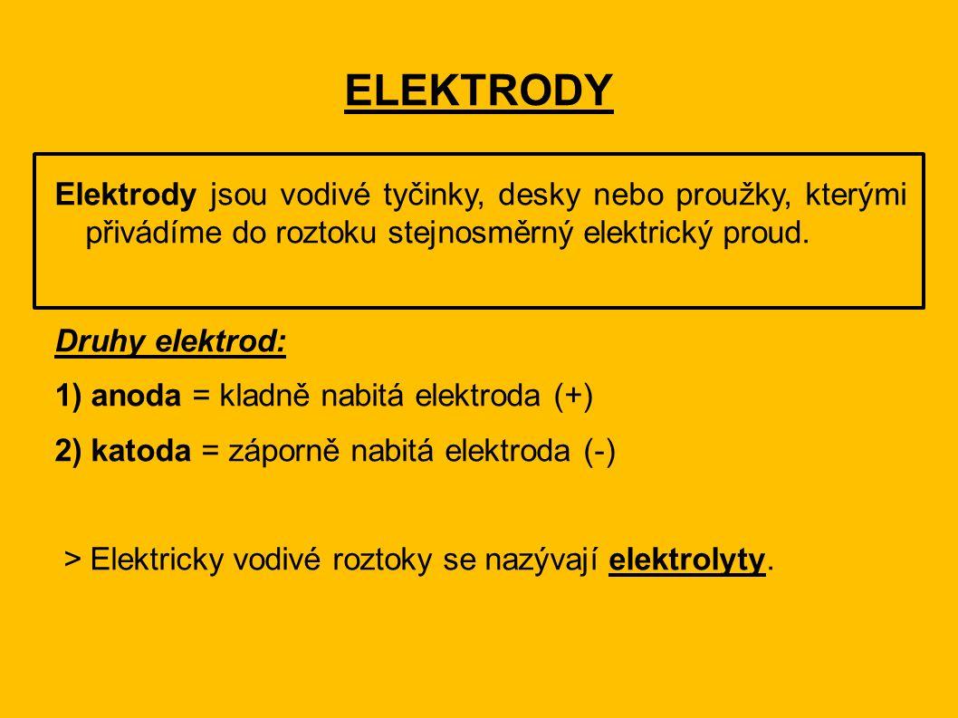 ELEKTRODY Elektrody jsou vodivé tyčinky, desky nebo proužky, kterými přivádíme do roztoku stejnosměrný elektrický proud. Druhy elektrod: 1) anoda = kl