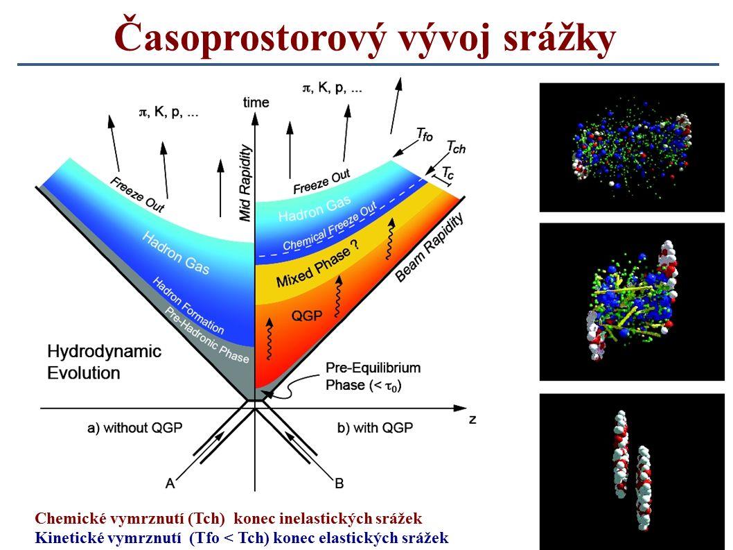 12 Časoprostorový vývoj srážky Chemické vymrznutí (Tch) konec inelastických srážek Kinetické vymrznutí (Tfo < Tch) konec elastických srážek