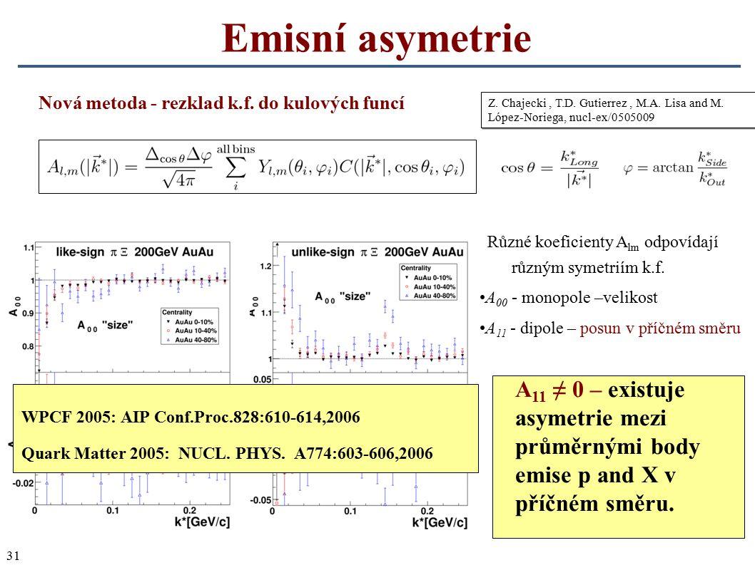 31 Emisní asymetrie Z. Chajecki, T.D. Gutierrez, M.A. Lisa and M. López-Noriega, nucl-ex/0505009 Nová metoda - rezklad k.f. do kulových funcí A 11 ≠ 0