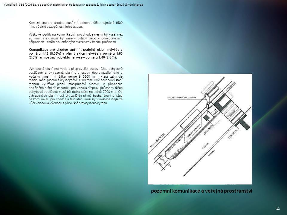 Vyhláška č. 398/2009 Sb. o obecných technických požadavcích zabezpečujících bezbariérové užívání staveb 12 pozemní komunikace a veřejná prostranství K
