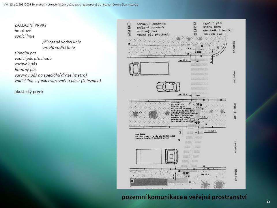 Vyhláška č. 398/2009 Sb. o obecných technických požadavcích zabezpečujících bezbariérové užívání staveb 13 pozemní komunikace a veřejná prostranství Z