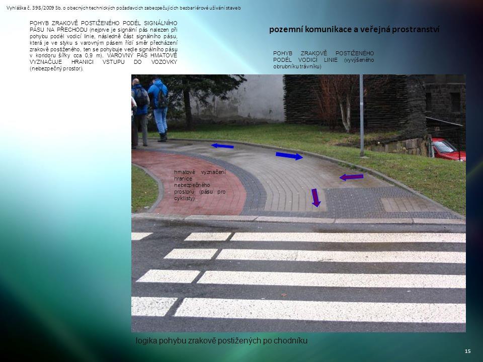 Vyhláška č. 398/2009 Sb. o obecných technických požadavcích zabezpečujících bezbariérové užívání staveb 15 POHYB ZRAKOVĚ POSTIŽENÉHO PODÉL SIGNÁLNÍHO