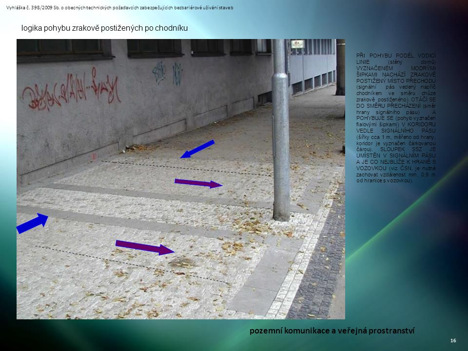 Vyhláška č. 398/2009 Sb. o obecných technických požadavcích zabezpečujících bezbariérové užívání staveb 16 PŘI POHYBU PODÉL VODICÍ LINIE (stěny domů)