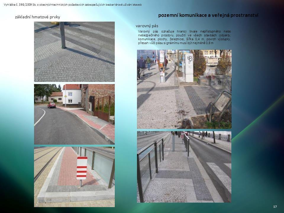 Vyhláška č. 398/2009 Sb. o obecných technických požadavcích zabezpečujících bezbariérové užívání staveb 17 základní hmatové prvky varovný pás Varovný