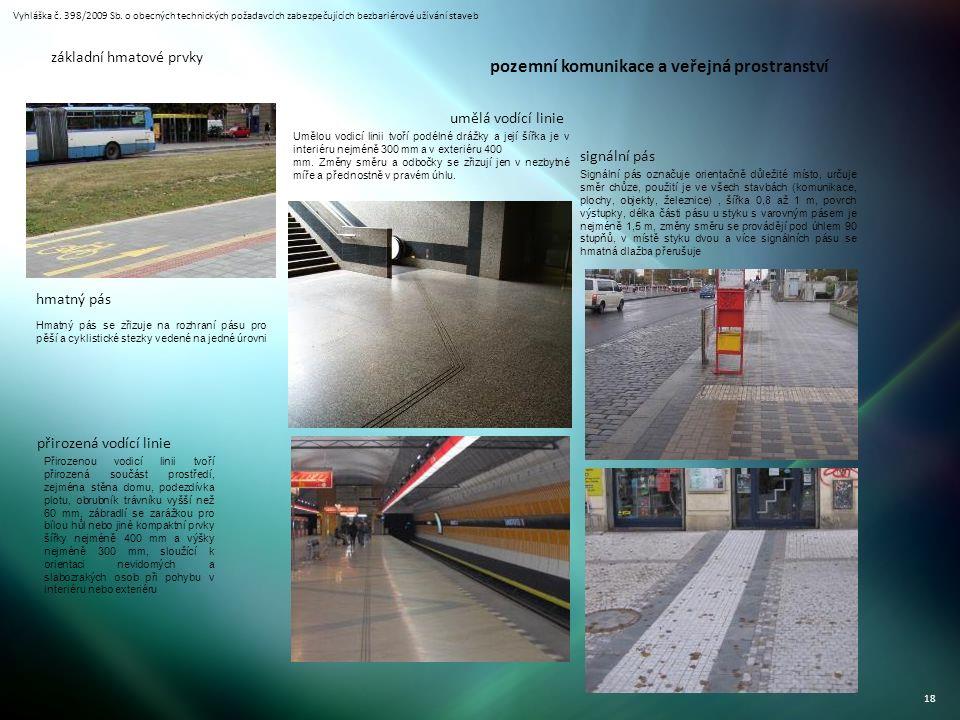 Vyhláška č. 398/2009 Sb. o obecných technických požadavcích zabezpečujících bezbariérové užívání staveb 18 základní hmatové prvky hmatný pás signální