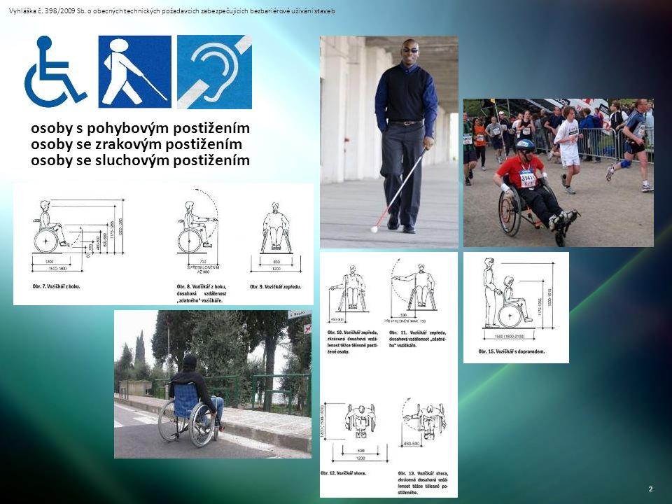 Vyhláška č. 398/2009 Sb. o obecných technických požadavcích zabezpečujících bezbariérové užívání staveb 2 osoby s pohybovým postižením osoby se zrakov