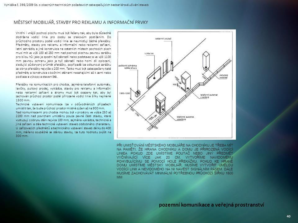 Vyhláška č. 398/2009 Sb. o obecných technických požadavcích zabezpečujících bezbariérové užívání staveb 40 pozemní komunikace a veřejná prostranství M