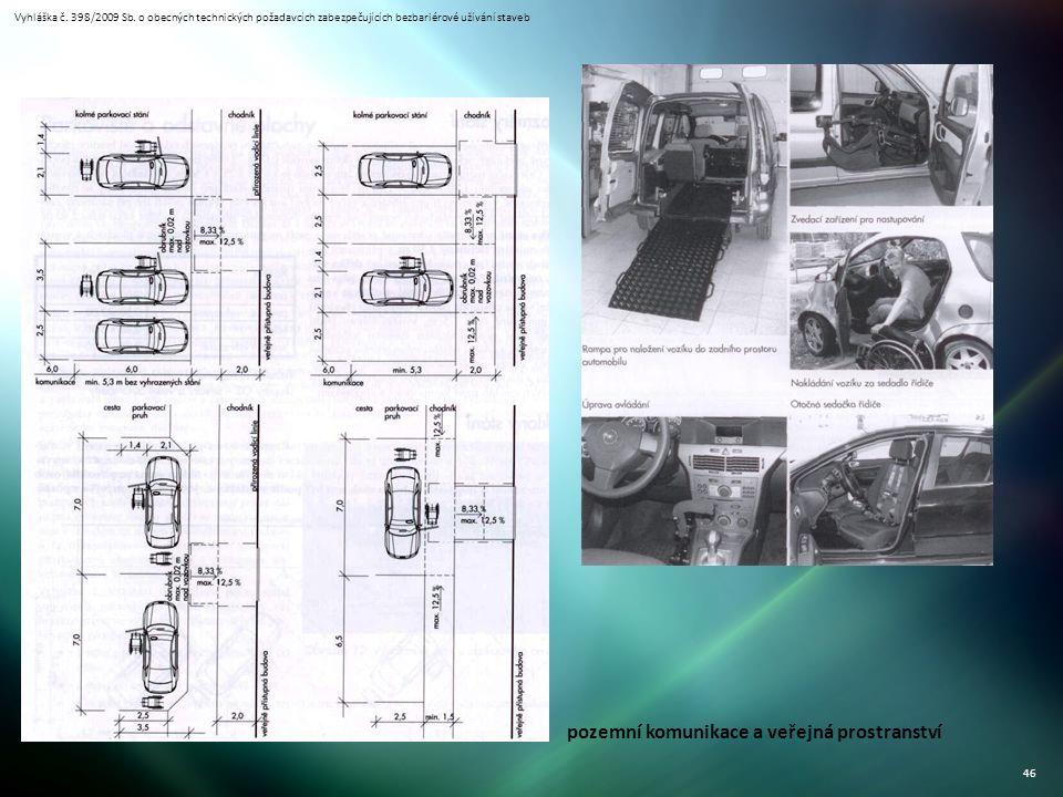 Vyhláška č. 398/2009 Sb. o obecných technických požadavcích zabezpečujících bezbariérové užívání staveb 46 pozemní komunikace a veřejná prostranství