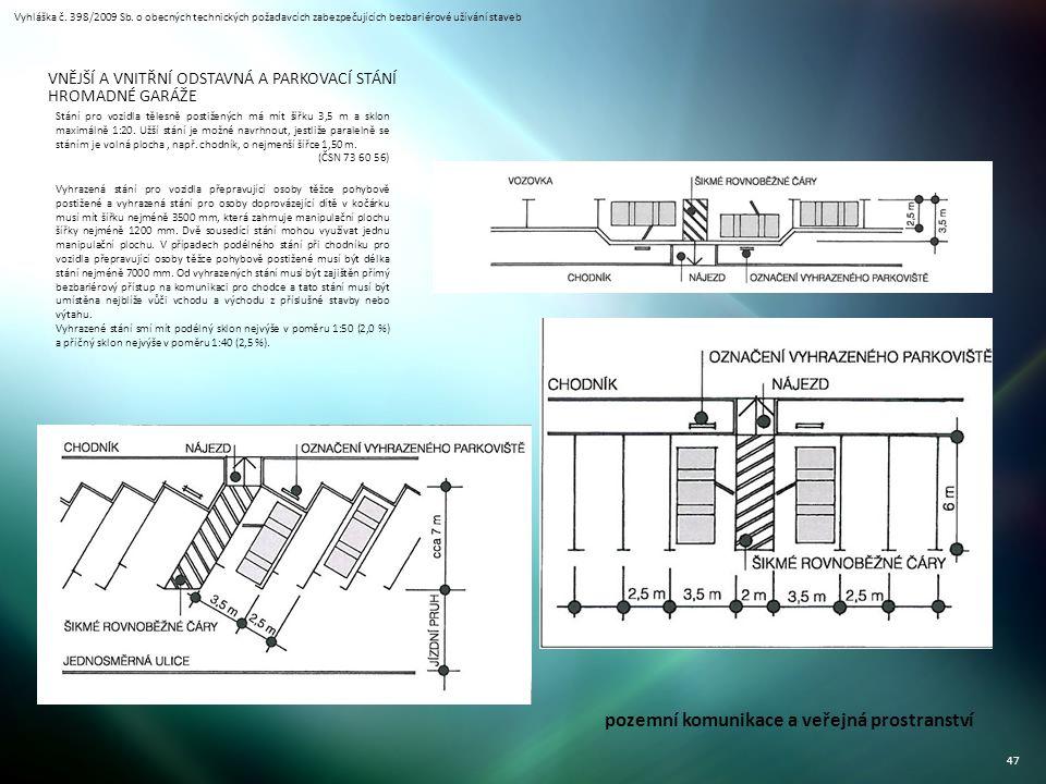 Vyhláška č. 398/2009 Sb. o obecných technických požadavcích zabezpečujících bezbariérové užívání staveb 47 Stání pro vozidla tělesně postižených má mí