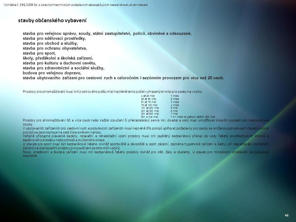 Vyhláška č. 398/2009 Sb. o obecných technických požadavcích zabezpečujících bezbariérové užívání staveb 48 stavby občanského vybavení stavba pro veřej