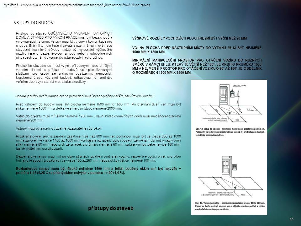 Vyhláška č. 398/2009 Sb. o obecných technických požadavcích zabezpečujících bezbariérové užívání staveb 50 přístupy do staveb VSTUPY DO BUDOV Přístupy