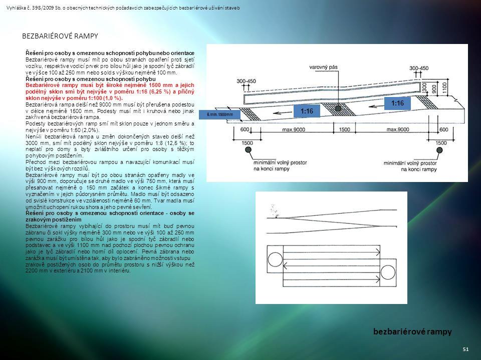 Vyhláška č. 398/2009 Sb. o obecných technických požadavcích zabezpečujících bezbariérové užívání staveb 51 bezbariérové rampy BEZBARIÉROVÉ RAMPY Řešen