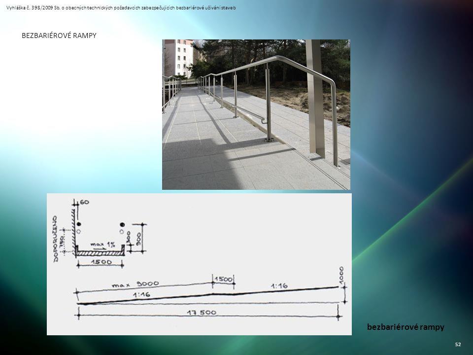 Vyhláška č. 398/2009 Sb. o obecných technických požadavcích zabezpečujících bezbariérové užívání staveb 52 bezbariérové rampy BEZBARIÉROVÉ RAMPY