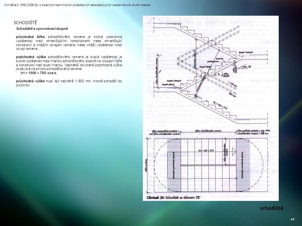 Vyhláška č. 398/2009 Sb. o obecných technických požadavcích zabezpečujících bezbariérové užívání staveb 54 schodiště SCHODIŠTĚ Schodiště a vyrovnávací