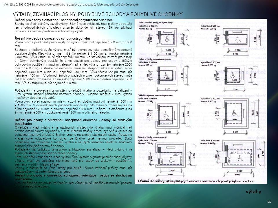 Vyhláška č. 398/2009 Sb. o obecných technických požadavcích zabezpečujících bezbariérové užívání staveb 55 VÝTAHY, ZDVIHACÍ PLOŠINY, POHYBLIVÉ SCHODY