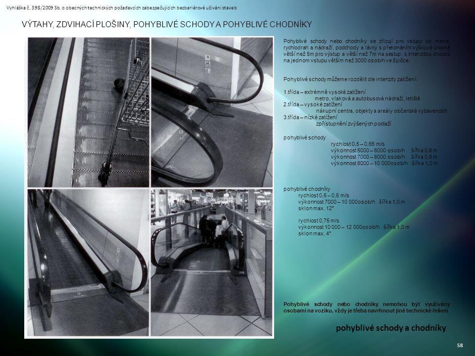Vyhláška č. 398/2009 Sb. o obecných technických požadavcích zabezpečujících bezbariérové užívání staveb 58 VÝTAHY, ZDVIHACÍ PLOŠINY, POHYBLIVÉ SCHODY