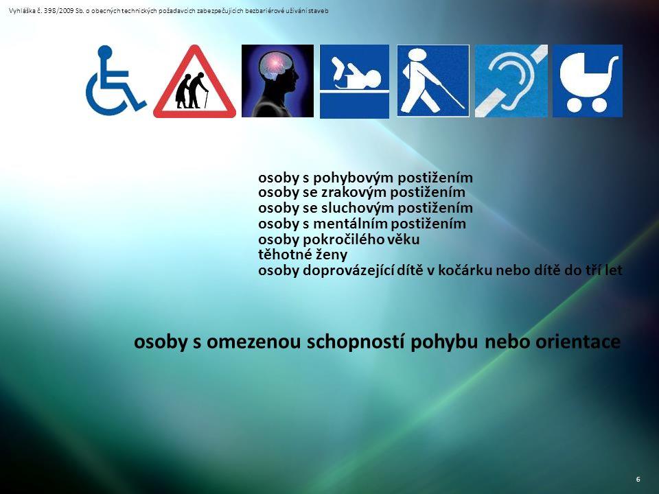 Vyhláška č. 398/2009 Sb. o obecných technických požadavcích zabezpečujících bezbariérové užívání staveb 6 osoby s pohybovým postižením osoby se zrakov