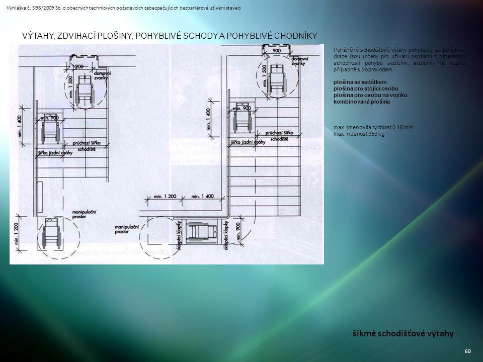 Vyhláška č. 398/2009 Sb. o obecných technických požadavcích zabezpečujících bezbariérové užívání staveb 60 VÝTAHY, ZDVIHACÍ PLOŠINY, POHYBLIVÉ SCHODY