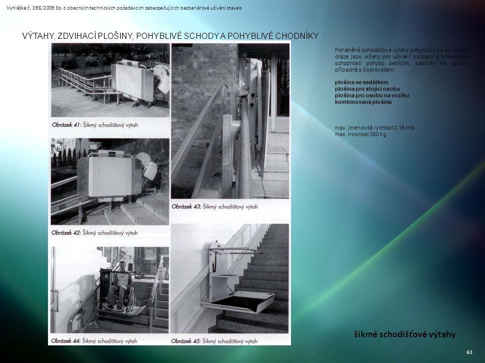 Vyhláška č. 398/2009 Sb. o obecných technických požadavcích zabezpečujících bezbariérové užívání staveb 61 VÝTAHY, ZDVIHACÍ PLOŠINY, POHYBLIVÉ SCHODY