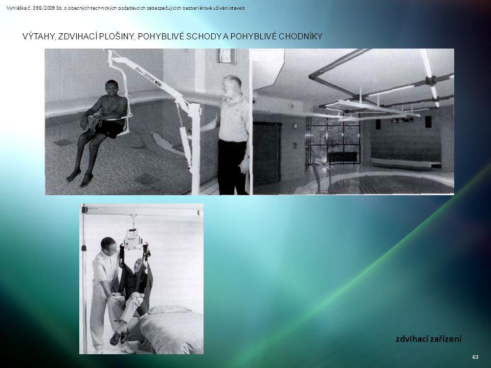 Vyhláška č. 398/2009 Sb. o obecných technických požadavcích zabezpečujících bezbariérové užívání staveb 63 VÝTAHY, ZDVIHACÍ PLOŠINY, POHYBLIVÉ SCHODY