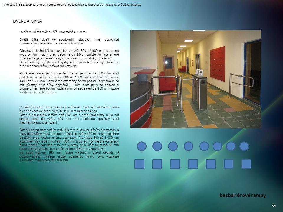 Vyhláška č. 398/2009 Sb. o obecných technických požadavcích zabezpečujících bezbariérové užívání staveb 64 bezbariérové rampy DVEŘE A OKNA Dveře musí