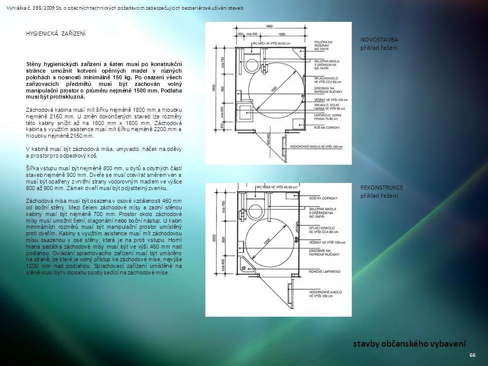 Vyhláška č. 398/2009 Sb. o obecných technických požadavcích zabezpečujících bezbariérové užívání staveb 66 stavby občanského vybavení Stěny hygienický