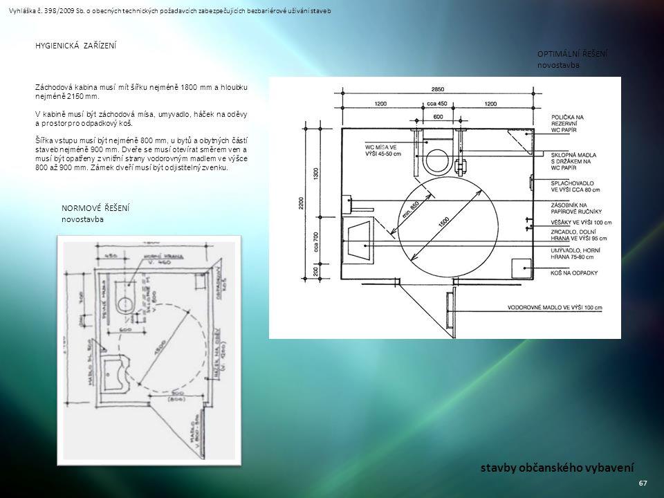 Vyhláška č. 398/2009 Sb. o obecných technických požadavcích zabezpečujících bezbariérové užívání staveb 67 stavby občanského vybavení OPTIMÁLNÍ ŘEŠENÍ