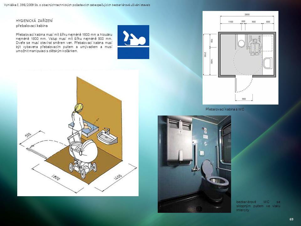 Vyhláška č. 398/2009 Sb. o obecných technických požadavcích zabezpečujících bezbariérové užívání staveb 69 HYGIENICKÁ ZAŘÍZENÍ přebalovací kabina Přeb