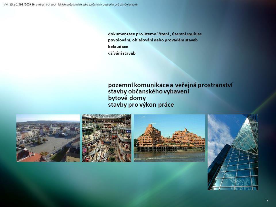 Vyhláška č. 398/2009 Sb. o obecných technických požadavcích zabezpečujících bezbariérové užívání staveb 7 dokumentace pro územní řízení, územní souhla