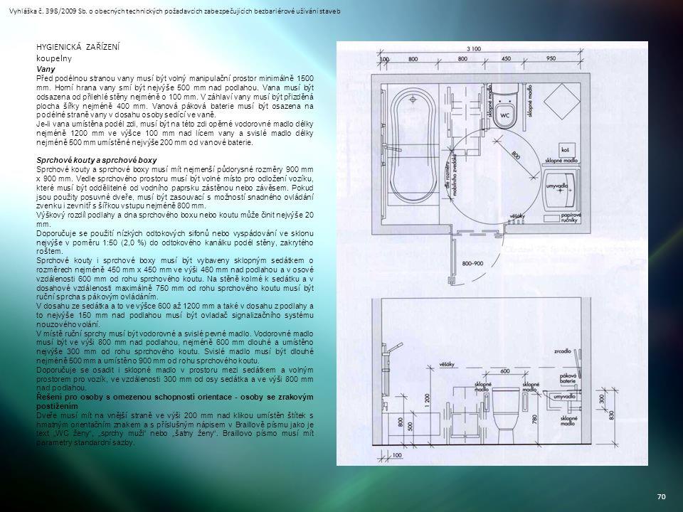 Vyhláška č. 398/2009 Sb. o obecných technických požadavcích zabezpečujících bezbariérové užívání staveb 70 HYGIENICKÁ ZAŘÍZENÍ koupelny Vany Před podé