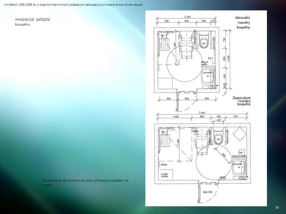 Vyhláška č. 398/2009 Sb. o obecných technických požadavcích zabezpečujících bezbariérové užívání staveb 73 HYGIENICKÁ ZAŘÍZENÍ koupelny koupelna se sp
