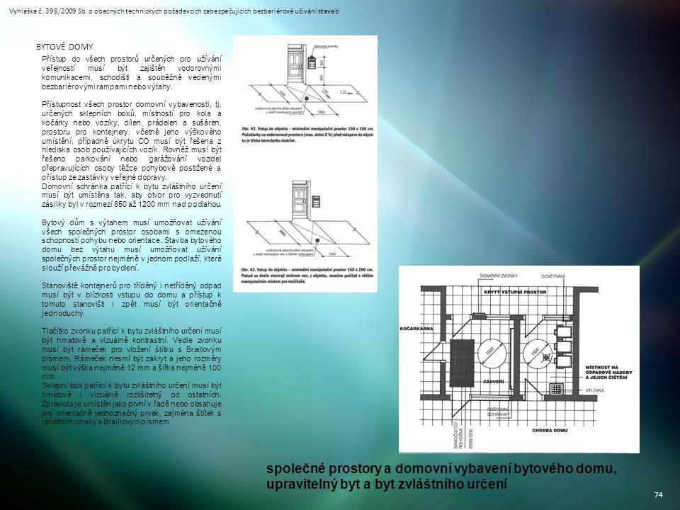 Vyhláška č. 398/2009 Sb. o obecných technických požadavcích zabezpečujících bezbariérové užívání staveb 74 BYTOVÉ DOMY Přístup do všech prostorů určen