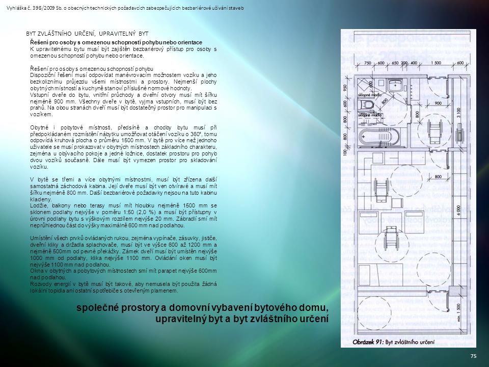 Vyhláška č. 398/2009 Sb. o obecných technických požadavcích zabezpečujících bezbariérové užívání staveb 75 BYT ZVLÁŠTNÍHO URČENÍ, UPRAVITELNÝ BYT Řeše