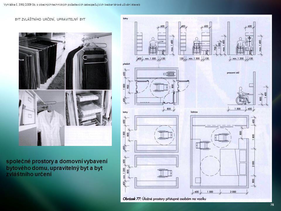 Vyhláška č. 398/2009 Sb. o obecných technických požadavcích zabezpečujících bezbariérové užívání staveb 78 BYT ZVLÁŠTNÍHO URČENÍ, UPRAVITELNÝ BYT spol