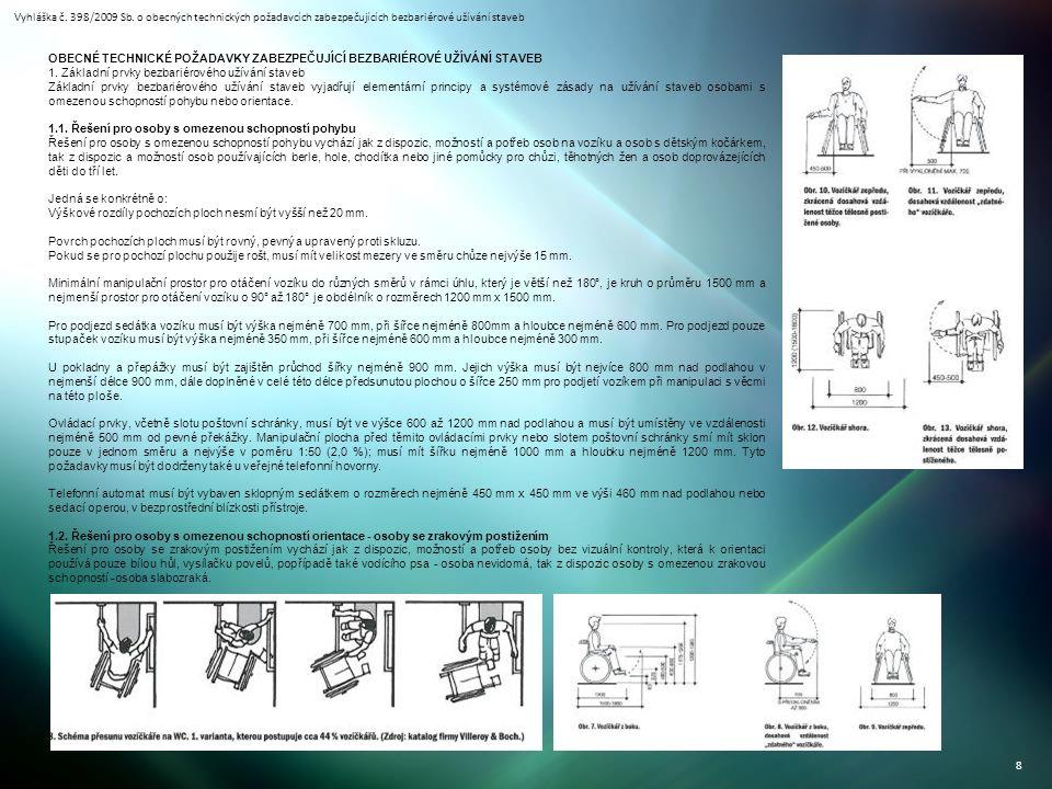 Vyhláška č. 398/2009 Sb. o obecných technických požadavcích zabezpečujících bezbariérové užívání staveb 8 OBECNÉ TECHNICKÉ POŽADAVKY ZABEZPEČUJÍCÍ BEZ