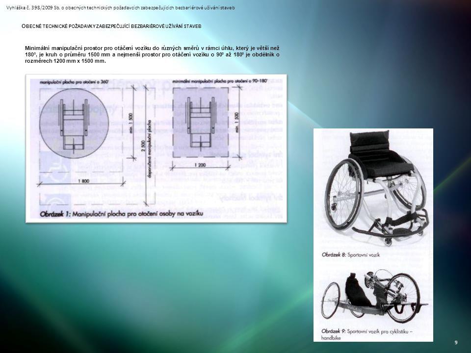 Vyhláška č. 398/2009 Sb. o obecných technických požadavcích zabezpečujících bezbariérové užívání staveb 9 Minimální manipulační prostor pro otáčení vo