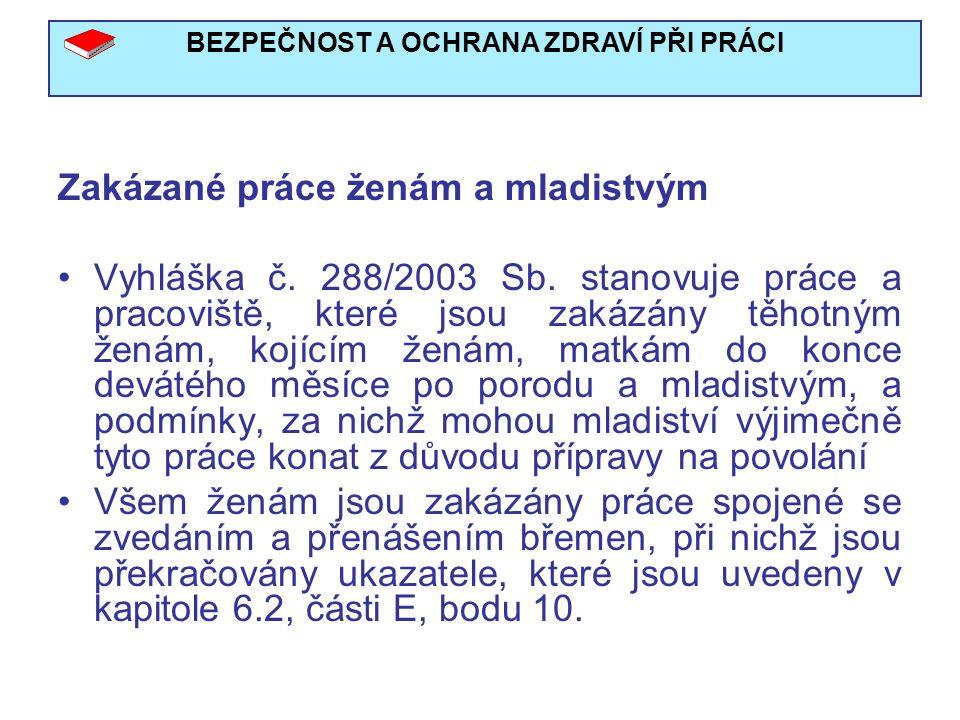 BEZPEČNOST A OCHRANA ZDRAVÍ PŘI PRÁCI Zakázané práce ženám a mladistvým Vyhláška č.