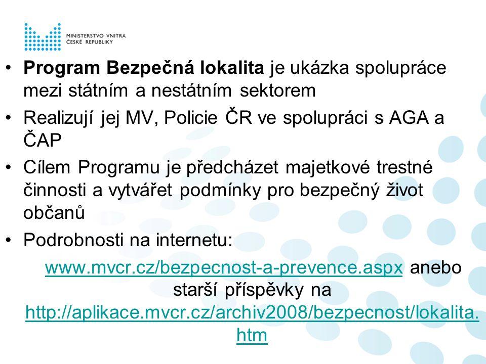 Program Bezpečná lokalita je ukázka spolupráce mezi státním a nestátním sektorem Realizují jej MV, Policie ČR ve spolupráci s AGA a ČAP Cílem Programu