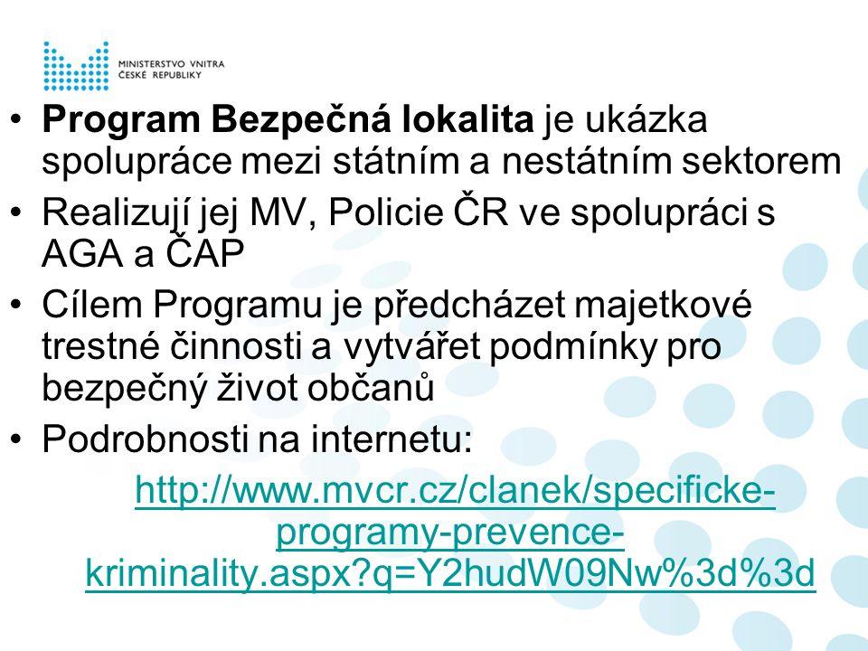Program Bezpečná lokalita je ukázka spolupráce mezi státním a nestátním sektorem Realizují jej MV, Policie ČR ve spolupráci s AGA a ČAP Cílem Programu je předcházet majetkové trestné činnosti a vytvářet podmínky pro bezpečný život občanů Podrobnosti na internetu: http://www.mvcr.cz/clanek/specificke- programy-prevence- kriminality.aspx q=Y2hudW09Nw%3d%3dhttp://www.mvcr.cz/clanek/specificke- programy-prevence- kriminality.aspx q=Y2hudW09Nw%3d%3d
