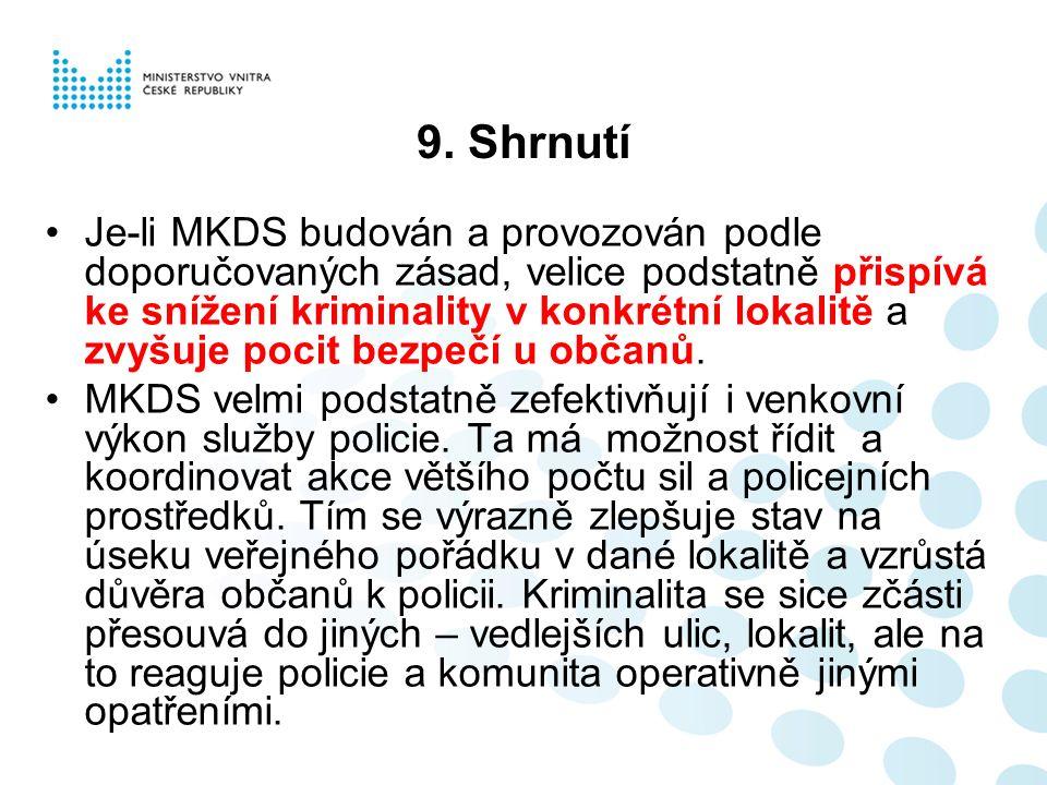 9. Shrnutí Je-li MKDS budován a provozován podle doporučovaných zásad, velice podstatně přispívá ke snížení kriminality v konkrétní lokalitě a zvyšuje