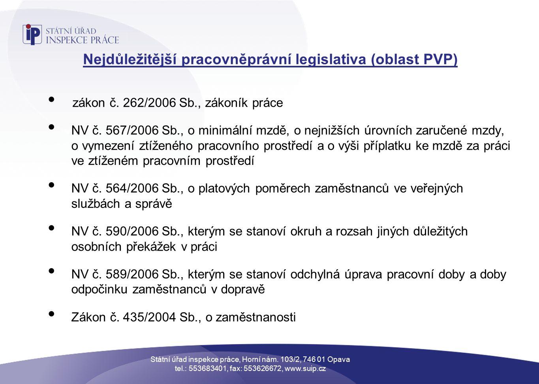 Nejdůležitější pracovněprávní legislativa (oblast PVP) zákon č.