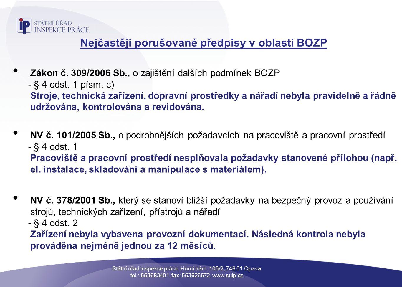 Nejčastěji porušované předpisy v oblasti BOZP Zákon č.