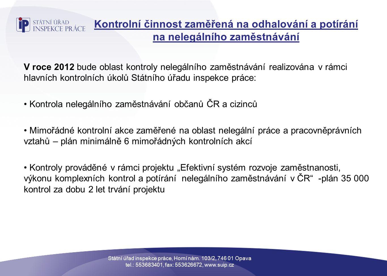 """Kontrolní činnost zaměřená na odhalování a potírání na nelegálního zaměstnávání V roce 2012 bude oblast kontroly nelegálního zaměstnávání realizována v rámci hlavních kontrolních úkolů Státního úřadu inspekce práce: Kontrola nelegálního zaměstnávání občanů ČR a cizinců Mimořádné kontrolní akce zaměřené na oblast nelegální práce a pracovněprávních vztahů – plán minimálně 6 mimořádných kontrolních akcí Kontroly prováděné v rámci projektu """"Efektivní systém rozvoje zaměstnanosti, výkonu komplexních kontrol a potírání nelegálního zaměstnávání v ČR -plán 35 000 kontrol za dobu 2 let trvání projektu Státní úřad inspekce práce, Horní nám."""