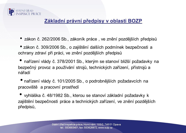 Základní právní předpisy v oblasti BOZP zákon č.