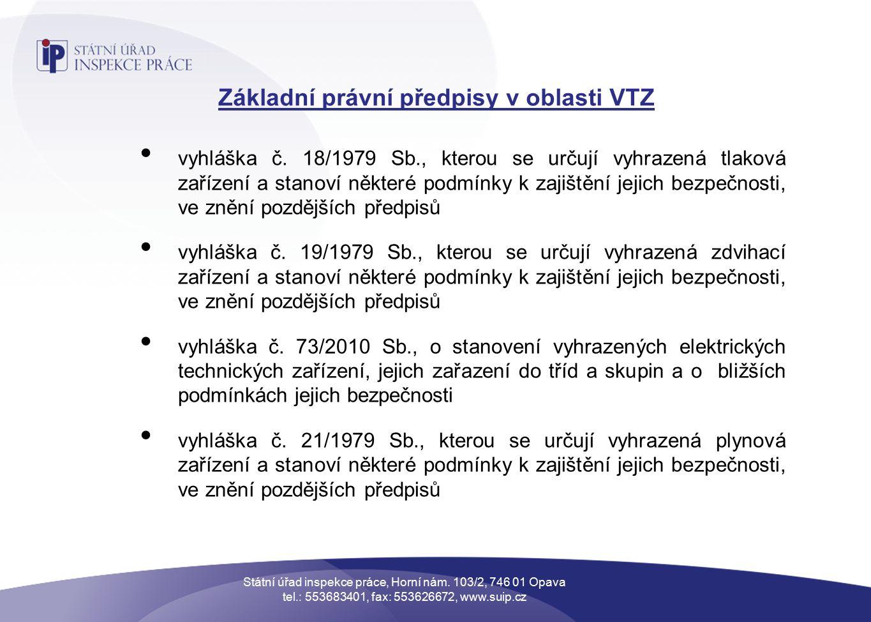 Základní právní předpisy v oblasti VTZ vyhláška č.